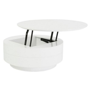 rounded white high gloss coffee table with storage