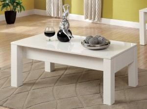 white lacquer lift-top storage coffee table